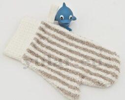 Waschhandschuh aus Frotteeleinen mit Waffelleinen verziert HAPPY KIDS